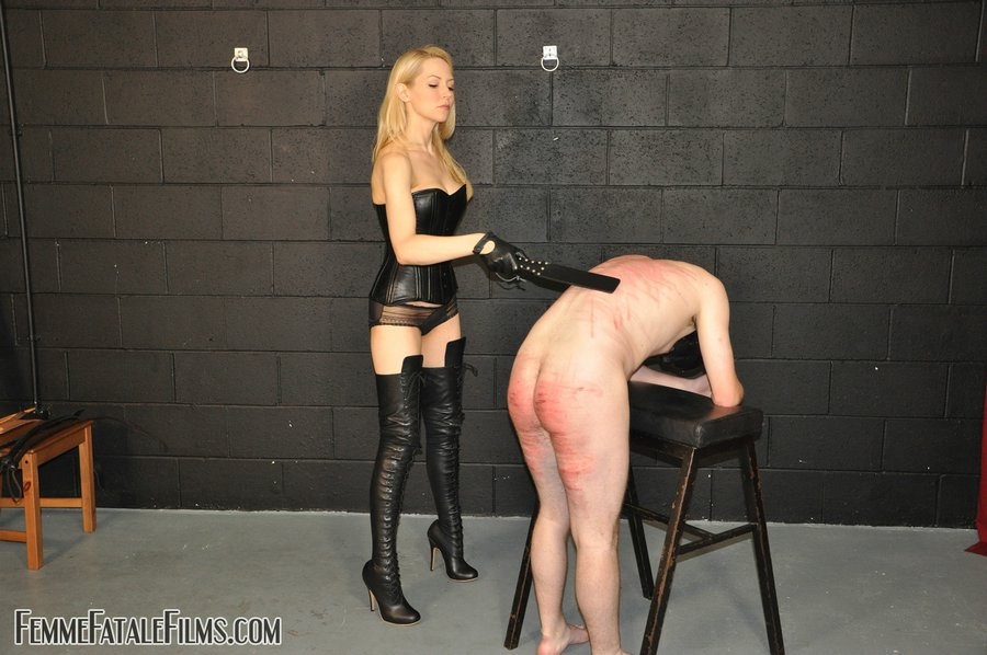 Naked Caning Caramel Blonde Leggy Is Wearing Leather Costume And 1